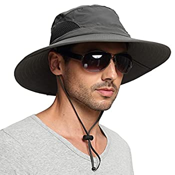 EINSKEY Men s Waterproof Sun Hat Outdoor Sun Protection Bucket Safari Cap For Safari Fishing Hunting Dark Gray One Size