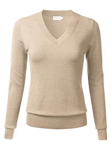 FLORIA - Suéter de punto de manga larga para mujer (tallas S-XL), Fc645_caqui, L