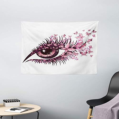 jenny-shop Tapisserie de Papillons, fée des Yeux féminins avec des Cils de Papillons Mascara Stare Party Makeup, Large tenture 59 * 59 Pouces