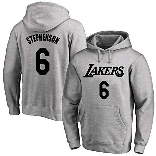 Camiseta de baloncesto para hombre, con capucha deportiva Lakers No. 6 Stephenson, 123, gris, L