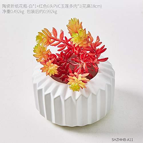 don997gfoh08yewi Creatieve geometrische origami keramische vaas decoratie huis woonkamer slaapkamer TV kast gedroogde bloem arrangementCombinatie 11
