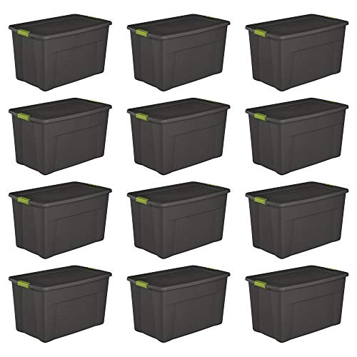 Sterilite 19453V04 35 Gal. Storage Tote Box w/Latching Container Lid (12 Pack)