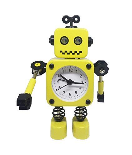 Enjoy Best Time Cute Metal Robot Alarm Clock for Kids-Funny Decoration Bedside Wake Up Light Alarm Clocks for Living Room-Yellow