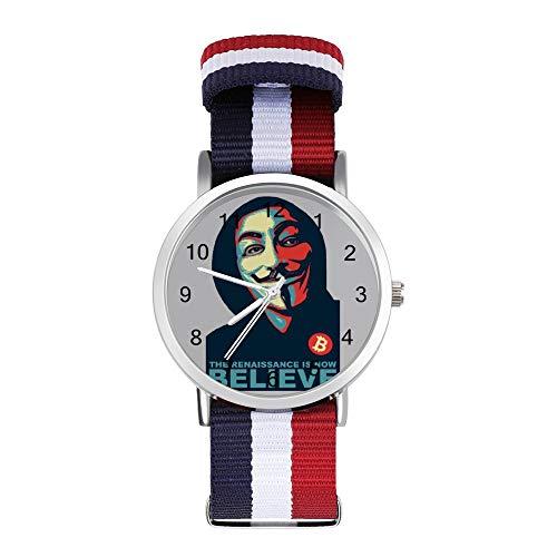 Anonymous Renaissance V for Vendetta Believe Bitcoin Freizeit Armband Uhren Geflochtene Uhr mit Skala