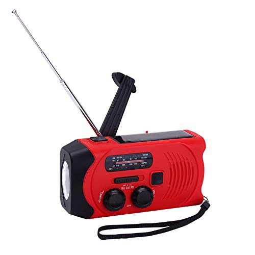 AIRSSON SOS 2000mAh Emergency Solar Hand Crank Portable Radio,NOAA Weather Radio for Household and Emergency with AM/FM,LED Flashlight,Reading Lamp,USB Charger,Battery Indicator (Red)