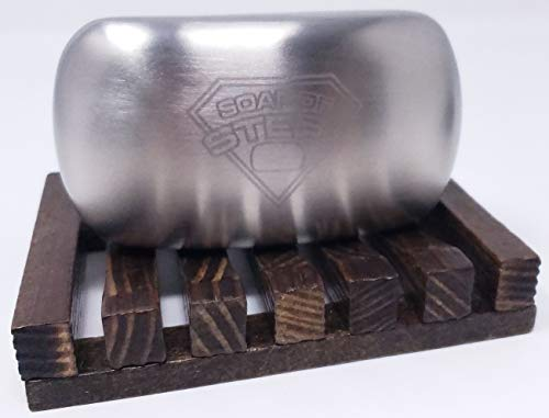 Soap of Steel Stainless Steel Soap & Soap Tray Bundle -Two Items: One Soap of Steel Stainless Steel Soap, One Vintage Wooden Sealed Soap Tray (Stained)