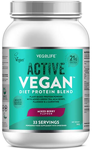 Vegan Protein Powders - Active Vegan Protein 1kg - 21g Protein Per Serving - Multi-Source Pea Protein Powder - UK Made - Premium Vegan Protein Shake - 33 Servings - Registered by Vegan Society