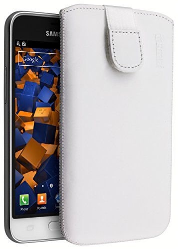 mumbi ECHT Ledertasche Samsung Galaxy J1 (2016) Tasche Leder Etui weiss (Lasche mit Rückzugfunktion Ausziehhilfe)