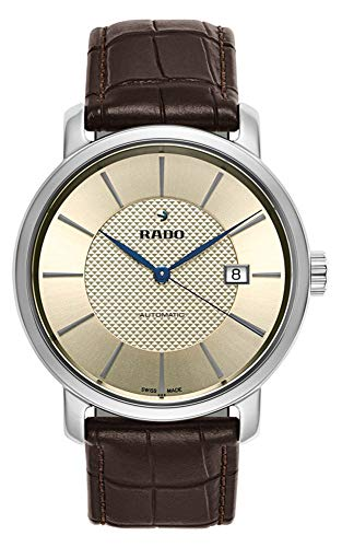 Rado DiaMaster XL Plasma High Tech Ceramic Automatic Champagne Dial Date Brown Strap Mens Watch R14074256