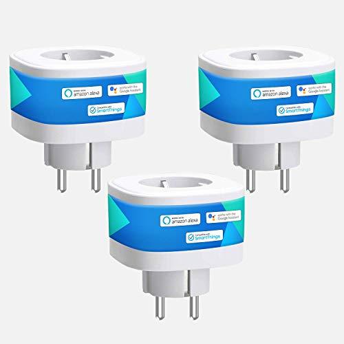 meross Smart WLAN Steckdose, Alexa Steckdose 16A Intelligent WiFi Plug 2.4Ghz kompatibel mit Alexa, Google Home und SmartThings, 3680W Stecker mit App Fernsteuerung, Kein Hub erforderlich, 3 Stücke