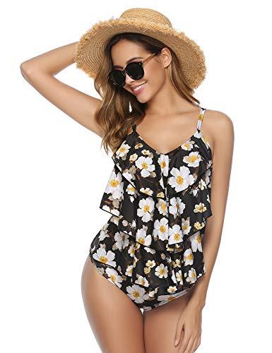 Abollria Damen Tankini Zweiteiler Badeanzug Elegant Volant Monokini mit Verstellbare Träger Bademode für Urlaub