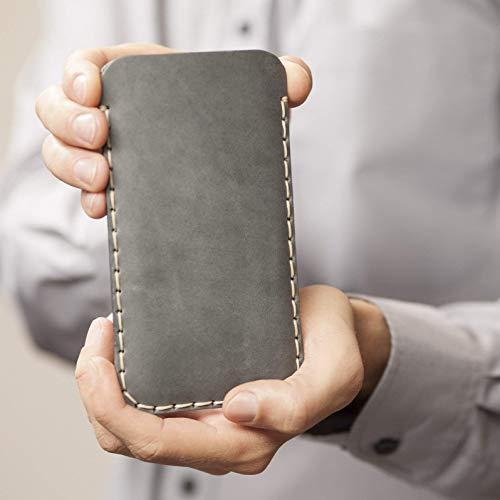 Étui Gris pour Samsung Galaxy Note 10+ en Cuir Véritable. Coque Housse Case Cover Pochette