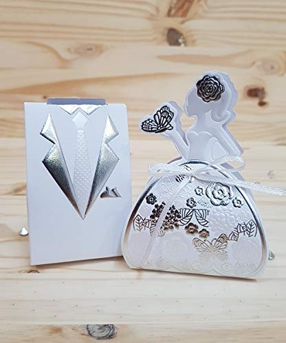 Caja para peladillas, diseño de traje de pareja de boda X50 plata