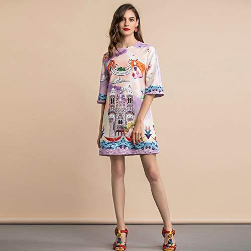 GMZA Ummer Fashion Runway losse casual jurk Dames 3/4 mouw patroon bedrukt kristal kralen Elegante korte jurk