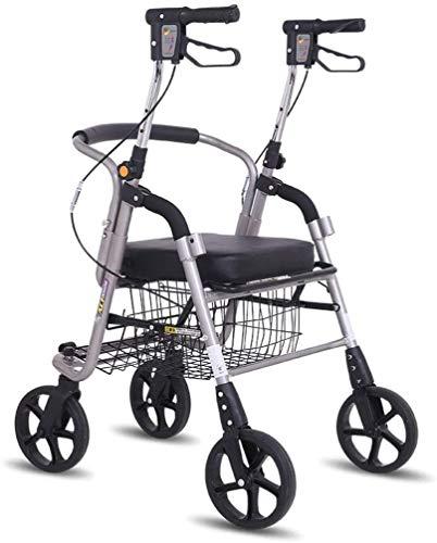 Älterer faltbaren Rollstuhl for Oma Opa GIF Folding Rollator Walker mit Sitz, Kleinen Rollstuhl Walker und Transport Chair Leicht älteren Four Wheel Walkers Warenkorb Comfort D