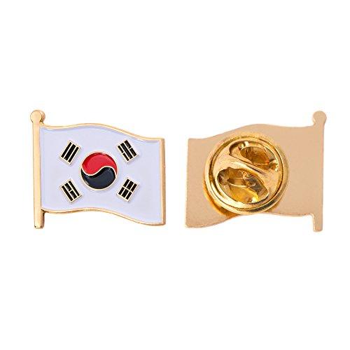 South Korea Country Enamel Made of Metal Souvenir Hat Men Women Patriotic Korean (Waving Flag Lapel Pin)