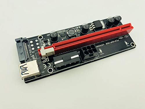 50pcs Ver009s Riser PCI-E PCI Express 1x to 16x Riser Card Two LED USB 3.0 Cable SATA 6pin 4pin molex Power for BTC Miner Mining