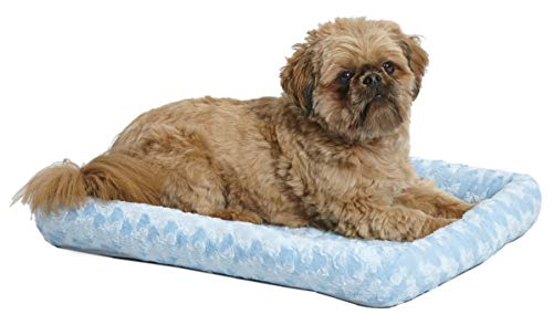 24L-Inch Blue Dog Bed or Cat Bed w/Comfortable Bolster   Ideal for Small Dog Breeds & Fits a 24-Inch Dog Crate   Easy Maintenance Machine Wash & Dry   1-Year Warranty
