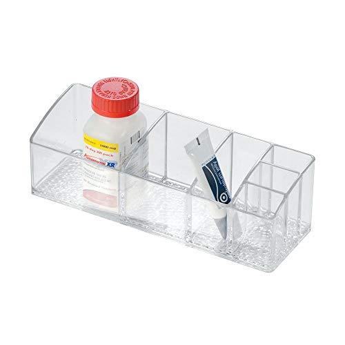 iDesign Med+ Medikamentenbox für Arzneimittelschrank | Sortierbox mit 6 Fächern | Ideal für Medikamentenaufbewahrung im Bad | Kunststoff durchsichtig