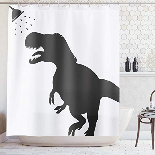 Ambsunny Kids - Cortina de ducha con diseño de dinosaurios con motivos de animales, diseño de dinosaurios, color blanco y negro