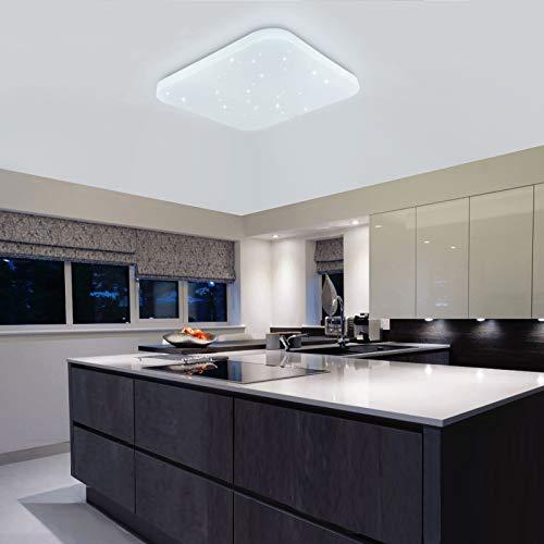 Luz de techo LED Baño Cocina Dormitorio Luces de techo Ducha Sala Comedor Estudio Balcón Pasillo Corredor Lámpara de techo Blanco frio 6000K Cuadrado moderno Impermeable 2050lm 26W LUSUNT