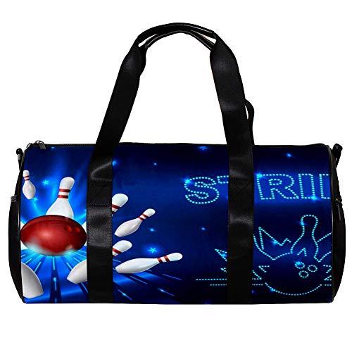 TIZORAX Duffel Bag für Damen und Herren, Bowling Strike Sport Gym Tote Bag Wochenende Übernachtung Reisetasche Outdoor Gepäck Handtasche