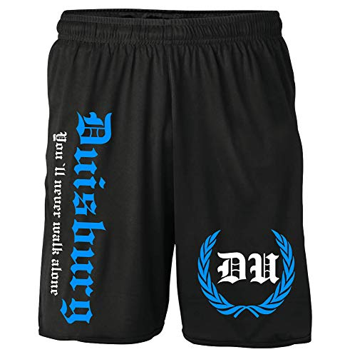Duisburg Kranz Shorts | Fussball Sport Ultras Kurze Hose Sporthose (XXL, Schwarz Kranz M2)