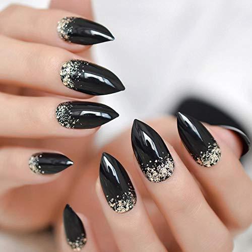 Rpbll Coffin Medium Glitter Nails Coal Black Silver Powder Translucent Shiny Fake Nails Pre-Designed Fashion Style Finger Nails-L5054