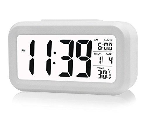 Cisixin LED Inteligente Reloj Despertador Digital, a 5 Minutos de Pausa, con Pantalla Grande, Cabezada, Fecha, Temperatura y Sensor de Luz (Blanco)