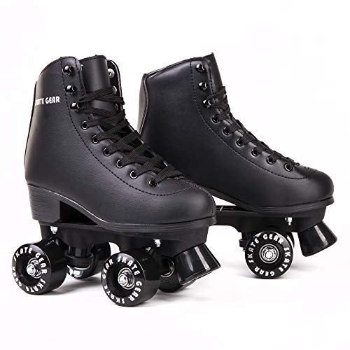 C SEVEN Skate Gear Cute Roller Skates for Kids and Adults (Black, Youth 1)