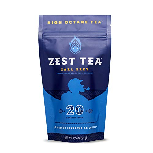 Zest Tea Energy Hot Tea, High Caffeine Blend Natural & Healthy Traditional Black Coffee Substitute, Perfect for Keto, 150 mg Caffeine per Serving, 20 Sachets (1 Pouch), Earl Grey Black Tea