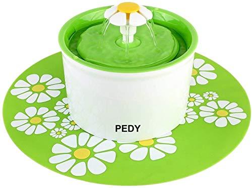 PEDY Fontaine à Fleur pour Chat 1,6 L, Distributeur de Nourriture Eau avecTapis en Silicone, Vert, GS / ROHS / CE Certification