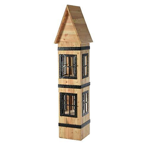acerto 20021 Dekohaus aus Lärchenholz – 160x40x40cm * Massivholz * Handarbeit | Wetterfestes Holzhaus zum Dekorieren | Premium Holzhäuschen für drinnen & draußen