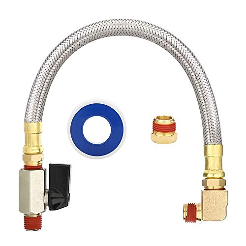 FUNTECK Extended Tank Drain Valve Assembly Kit for Air Compressor with 1/4 or 3/8 inch NPT Drain Valve