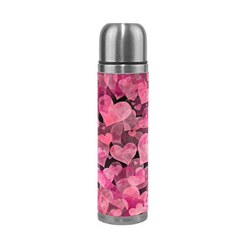 Mug de voyage, Thermos en acier inoxydable LeakProof Thermos isotherme Rose Bouteille d'eau 500 ml