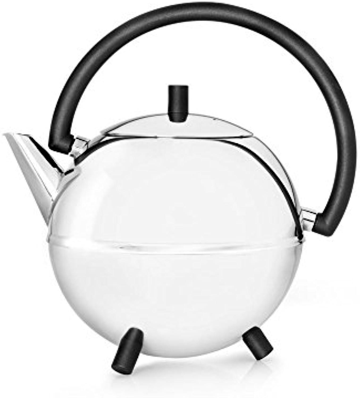 Doppelwandige Teekanne Duet Saturn Edelstahl glnzend, schwarze Beschlge 1.2 ltr.