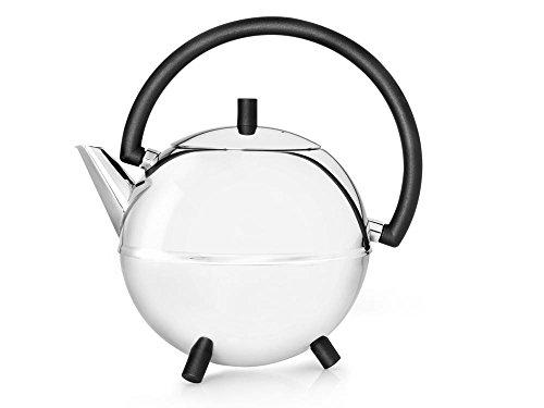 doppelwandige Teekanne Duet® Saturn Edelstahl glänzend, schwarze Beschläge 1.2 ltr.
