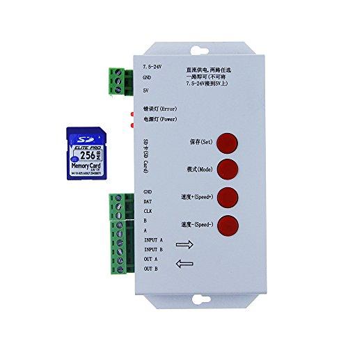 ALITOVE T1000S DMX 512 RGB LED Controller Configurable SPI SD Card WS2812B WS2811 WS2801 WS2803 LP6803 8806 1903 1809 1812 DC5V 12V-24V