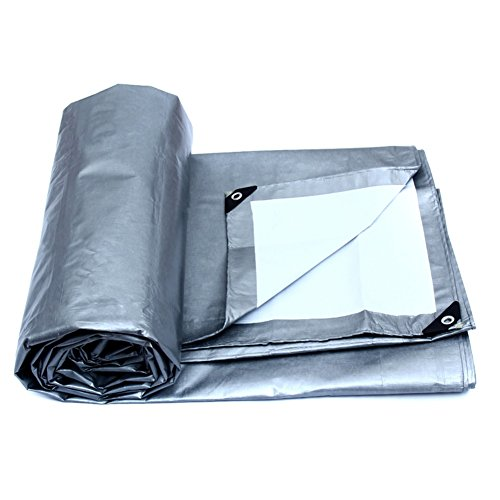 PanYFDD Tarpaulin Double Sided Thicken Sheeting Lightweight With Eyelets Tarp Garden Swimming Pool Weed Control Plastic Ground Cover Sheet roof, camping (Color : Silver, Size : 4x3m)