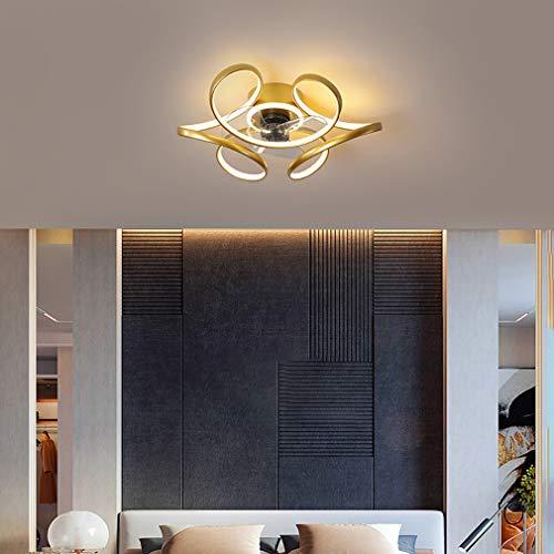 YIYUN Cuarto Ventiladores De Techo con Luces Y El Tiempo, con Mando A Distancia 3 Velocidades Ajustable LED Regulable Luz del Ventilador por Interior Sala Salón Comedor,Oro