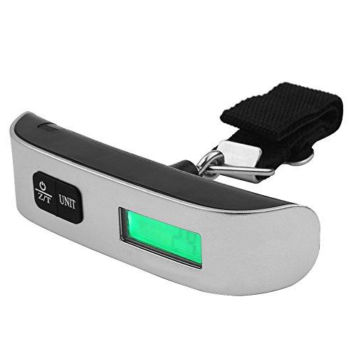 Fdit Travel draagbare digitale weegschaal, keukenweegschaal, T-vorm, handheld, elektronisch LCD-display, digitaal gewicht, bagage, koffer, tas, schaal zilver
