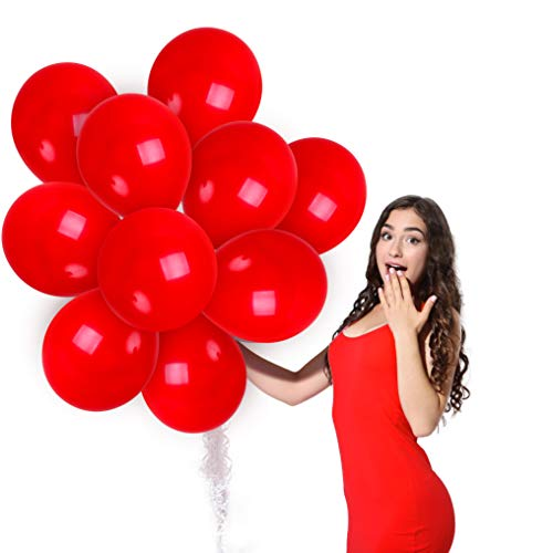 Matte Red Balloons 100 Pack - Crimson Balloons - Solid Red Latex Balloons 12 Inch for Wedding Engagement Bridal Shower Watermelon Party Birthday Valentines Day Christmas Lunar New Year Decorations