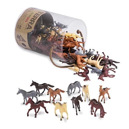 Terra 60-teilig Tierfiguren Sammlung Pferde Spielzeug Set im Eimer, Mini Pferde Figuren – Spielzeug ab 3 Jahren