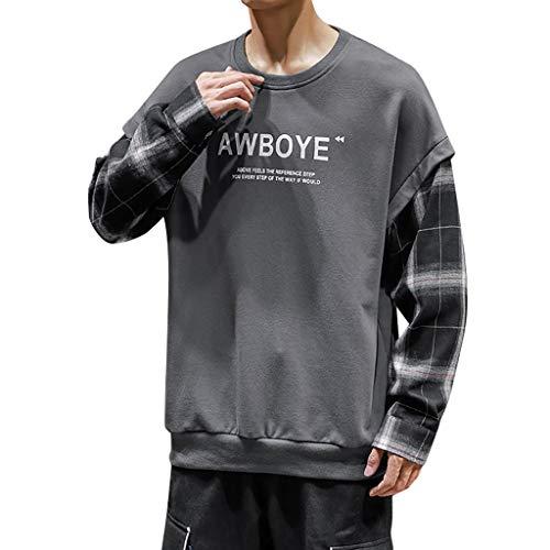 Herren Sweat Hood Kapuzenpullover Slim Fit Baumwollmischung-Anteil Moderner WeißEr Hoodie-Sweatshirt-Pulli Langarm Schwarzer Pullover-Shirt Mit Kapuze(B Dunkelgrau,5XL)