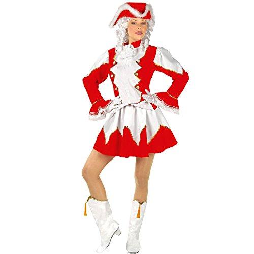NET TOYS Rotes Tanzmariechen Kostüm Gardekostüm Damen L (42/44) Funkenmariechen Damenkostüm Funkenkostüm rot weiß