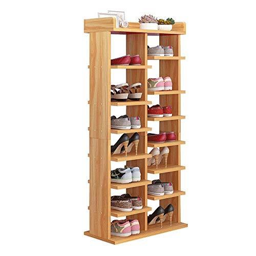 YAeele Bastidores del zapato 4-Tier zapatero de 14 pares de zapatos del organizador del almacenaje Puerta de entrada Unidad de estante ahorro de espacio Fácil Ensamble (Color: Nogal, tamaño: 52 * 24 *