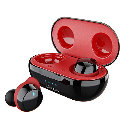 pTron Bassbuds Elite True Wireless Headphones (TWS), Bluetooth 5.0, Hi-Fi Sound with Bass, Auto Pairing, Passive Noise Cancellation, Voice Assistance, 12Hrs Playtime with Case & Mic - (Black & Red)