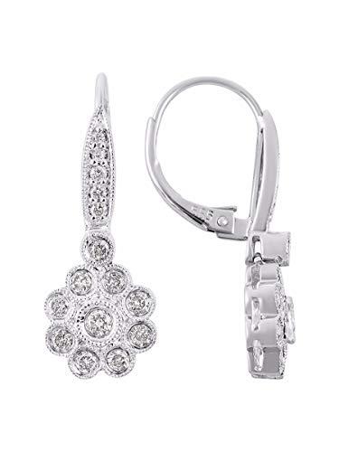 Pendientes de flores de diamantes 14K oro blanco Leverback Gota