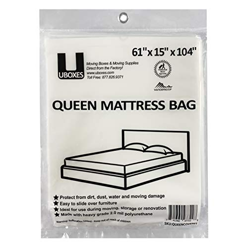 uBoxes Queen Mattress Poly Covers, 61 x 15 x 104 inch, Heavy Duty 2 mil, 1 Pack (QUEENCOVER01), Clear Plastic