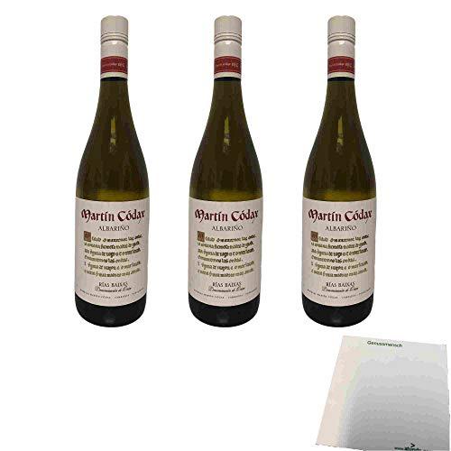 Bodegas Martin Codax Albarino Rias Baixas 12,5% vol 3er Pack (3x0,75l Flasche Weißwein) + usy Block